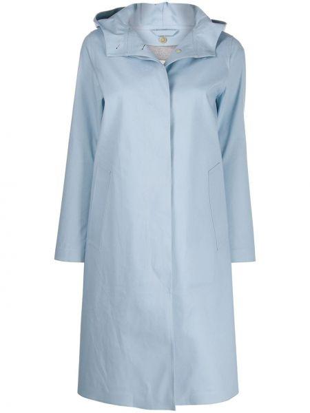 Синее шерстяное длинное пальто с капюшоном Mackintosh