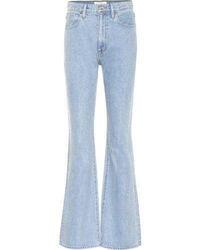 Ватные хлопковые синие расклешенные джинсы с американской проймой Slvrlake