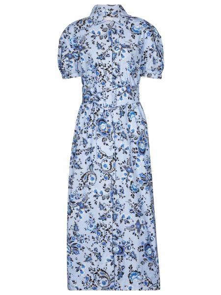 Хлопковое синее платье миди винтажное Erdem