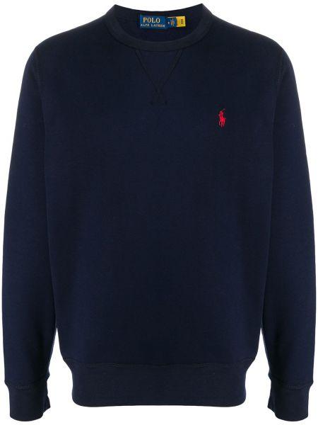 Prosto ciemnoniebieski koszulka polo z haftem z długimi rękawami Polo Ralph Lauren
