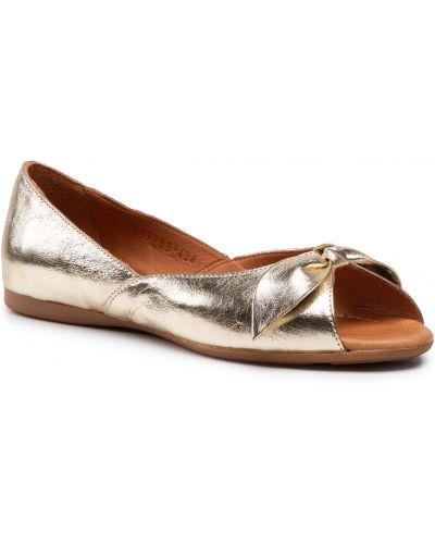 Żółte złote sandały Badura