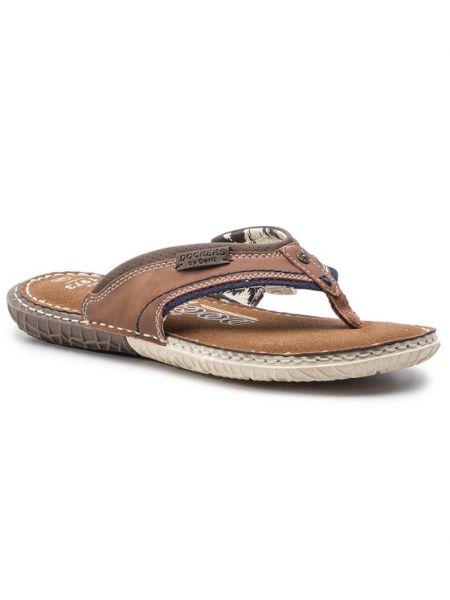 Sandały japonki - brązowe Dockers By Gerli