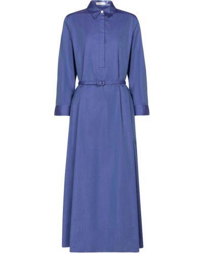 Ватное хлопковое синее платье макси The Row