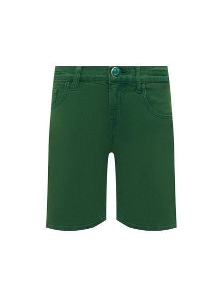 Хлопковые зеленые джинсовые шорты со стразами Jacob Cohen