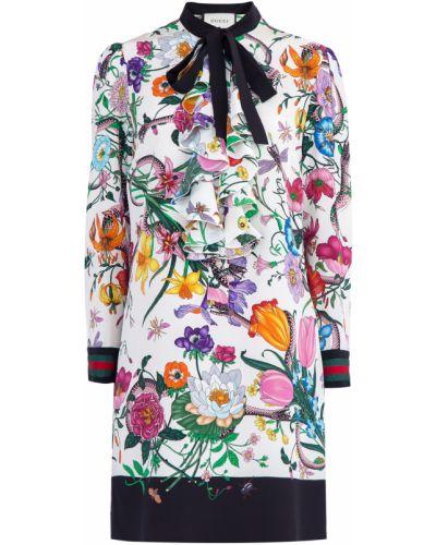 Платье мини с цветочным принтом прямое Gucci