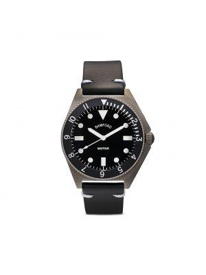 Czarny zegarek na skórzanym pasku skórzany klamry Bamford Watch Department