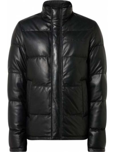 Skórzany czarny pikowana kurtka z kieszeniami z zamkiem błyskawicznym Karl Lagerfeld