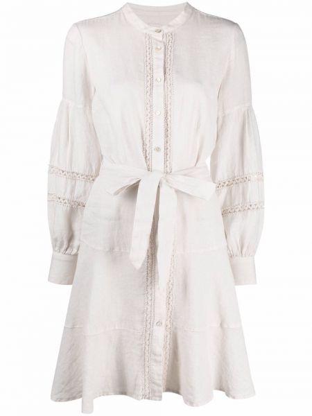 Платье макси с воротником-стойка с вышивкой на пуговицах 120% Lino