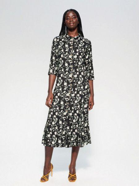 Повседневное платье черное весеннее Violeta By Mango