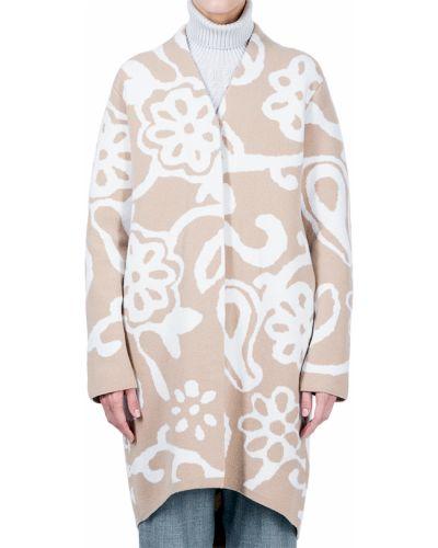 Шерстяное белое пальто с капюшоном Maerz