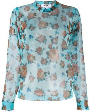 Джемпер с цветочным принтом синий Msgm