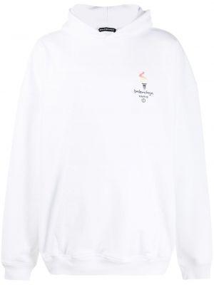 Bawełna biały bluza z kapturem z haftem z kapturem Balenciaga