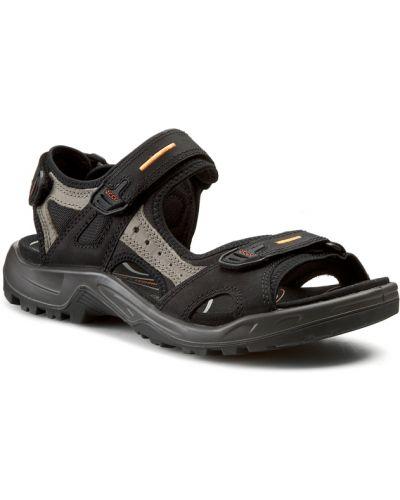 Skórzany czarny skórzany sandały Ecco