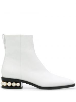 Biały buty na pięcie z prawdziwej skóry kwadratowy plac Nicholas Kirkwood