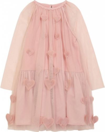 Платье из фатина - розовое Stella Mccartney Kids