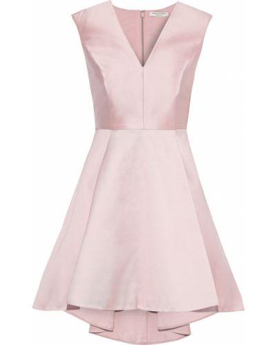 Плиссированное шелковое платье мини с подкладкой Halston Heritage