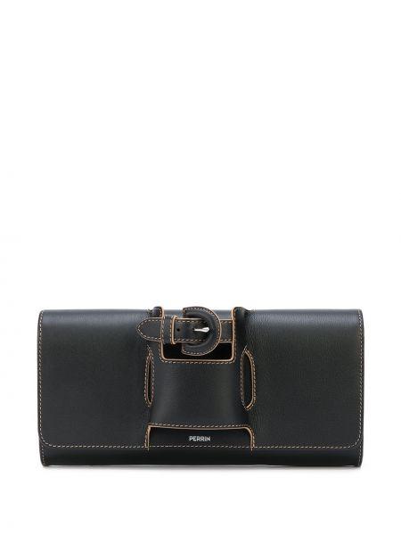 Черная кожаная сумка с пряжкой металлическая с карманами Perrin Paris