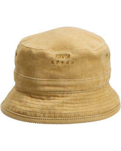 Żółta czapka sztruksowa Edwin
