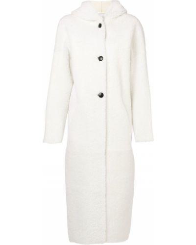 Однобортное белое длинное пальто Inès & Maréchal