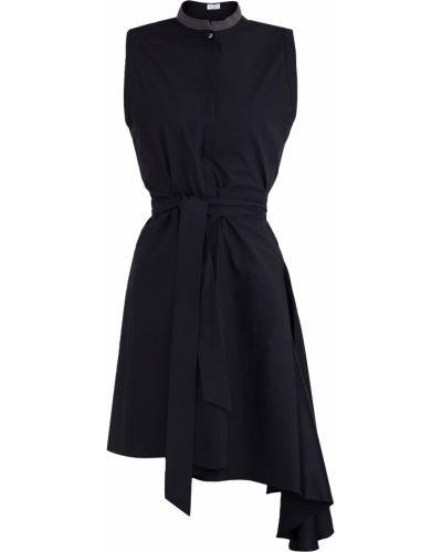 Платье с поясом из поплина расклешенное Brunello Cucinelli