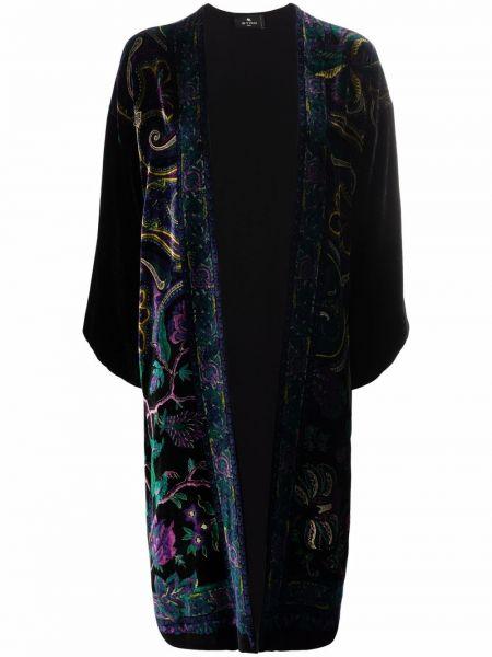Черное пальто с принтом Etro