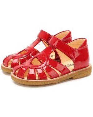 Кожаные красные кожаные босоножки с подкладкой Angulus
