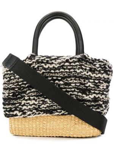 Черная соломенная сумка-тоут круглая Muun