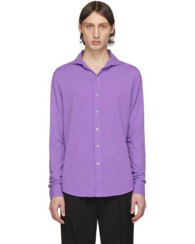 Fioletowe polo z długimi rękawami bawełniane Ralph Lauren Purple Label