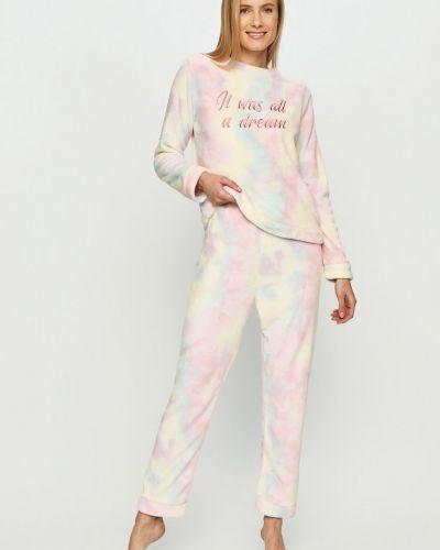 Różowa piżama z długimi rękawami materiałowa Brave Soul