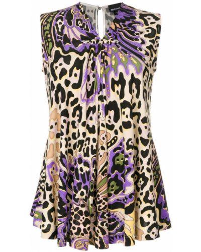 Блузка без рукавов с V-образным вырезом с леопардовым принтом Just Cavalli