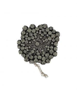 Włókienniczy czarny broszka ze srebra z koralikami Rochas