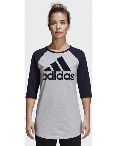 Серый лонгслив Adidas