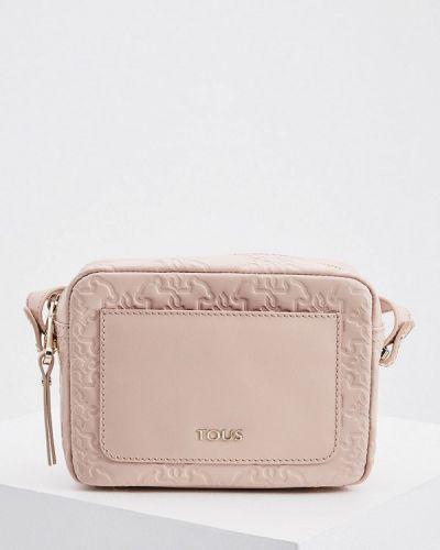 Розовая сумка через плечо из натуральной кожи Tous