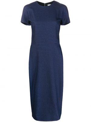 С рукавами синее платье мини в полоску Victoria Beckham