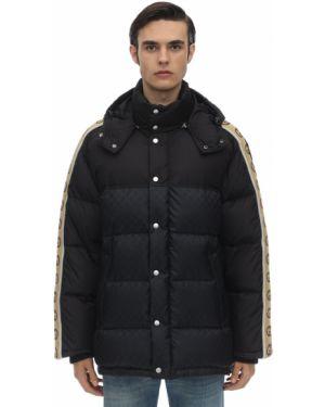 Czarna kurtka z kapturem z nylonu Gucci