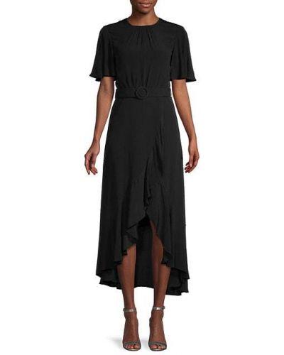 Свободное черное платье с поясом French Connection
