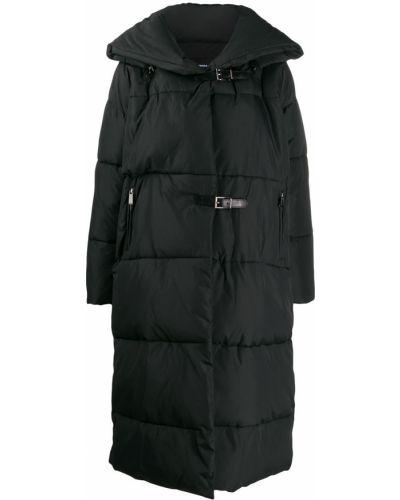 Прямое черное длинное пальто с капюшоном Barbara Bui