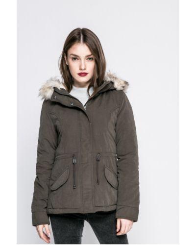 Утепленная куртка с капюшоном с мехом прямая Only