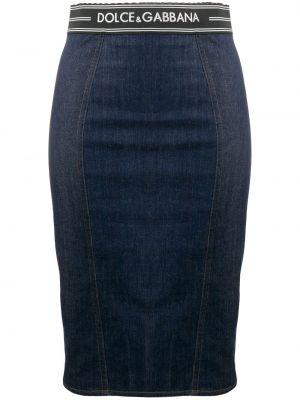 Прямая синяя юбка мини на молнии с поясом Dolce & Gabbana