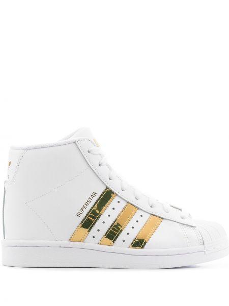 Кожаные белые кеды на платформе Adidas