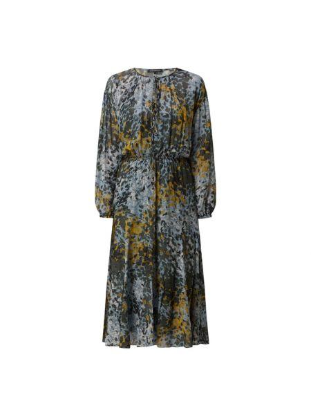 Niebieska sukienka midi z wiskozy Luisa Cerano