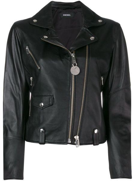 Черная кожаная длинная куртка байкерская Diesel