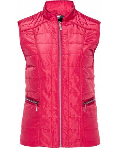 Розовая стеганая жилетка на молнии с карманами с воротником Bonprix