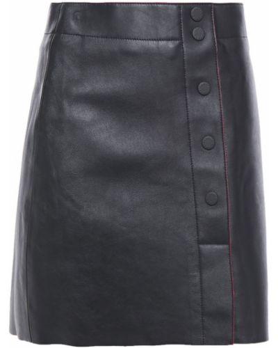 Кожаная юбка мини - черная Sandro