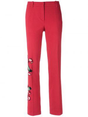 Красные брюки с вышивкой из вискозы на молнии Martha Medeiros