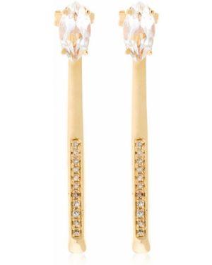Żółte złote kolczyki sztyfty z diamentem Bea Bongiasca