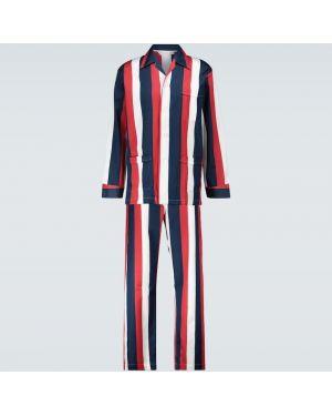 Синяя хлопковая пижама на пуговицах Derek Rose