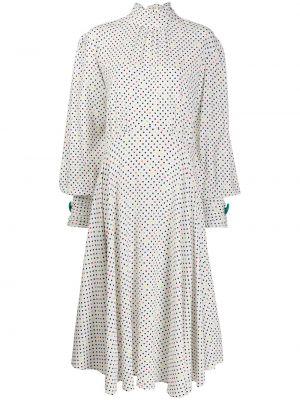 С рукавами белое асимметричное платье на пуговицах Christopher Kane
