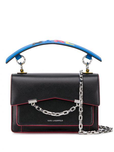Czarny łańcuch ze srebra srebrny Karl Lagerfeld
