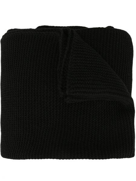 Prążkowany czarny szalik wełniany Sulvam